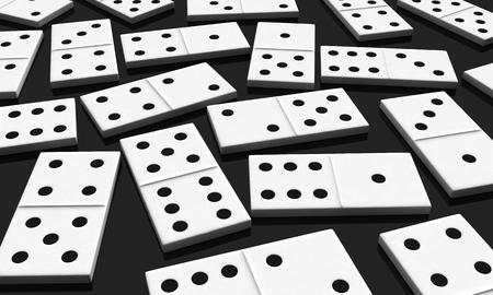 chain reaction: 3d render of white domino blocks over black background