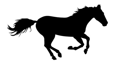 horse running: vector illustration of running horse silhouette Illustration
