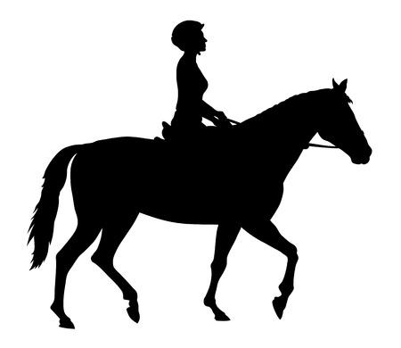 Ilustración vectorial de siluetas de caballos y jinete