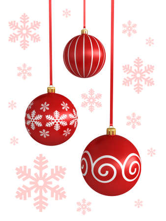 3d render of Christmas balls isolated on white background photo