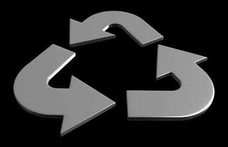 greenish: 3d render of recycle symbol isolated on black background