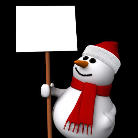 3d render of snowman holding a blank sign isolated on black background photo