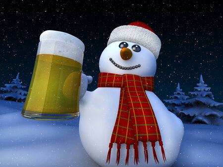 3d render of snowman holding a tankard of beer photo
