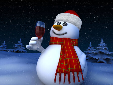 3d render of snowman holding a glass of red wine photo