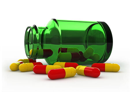 phial: 3d render of pills and a phial over white background
