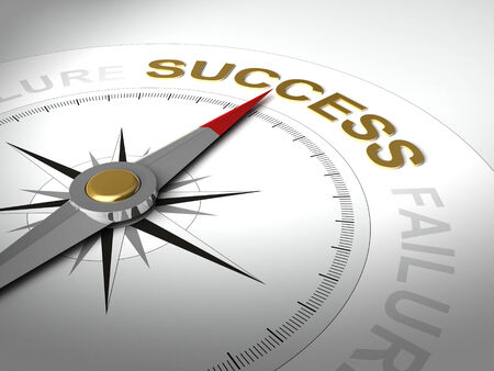 succeeding: Conceptual 3D render of compass with needle pointing the word success