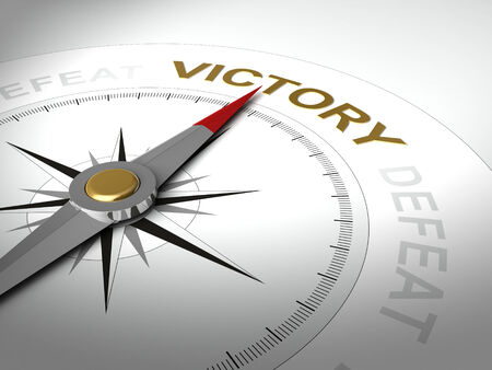 defeat: Conceptual 3D render of compass with needle pointing the word victory