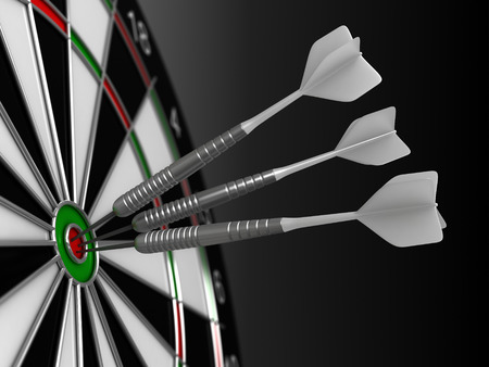 accurate: Close up 3d render of darts and board Stock Photo