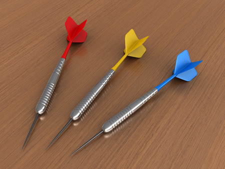 rd: 3d render of darts over table background Stock Photo