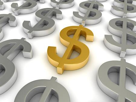 dollar symbol: 3d render of dollar symbols over white background