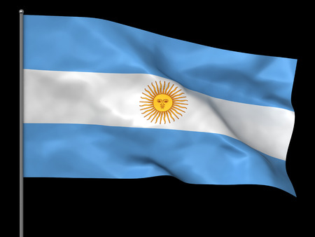 argentinian: Waving Argentinian flag isolated over black background Stock Photo