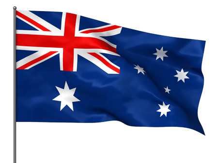 Waving Australian flag isolated over white background