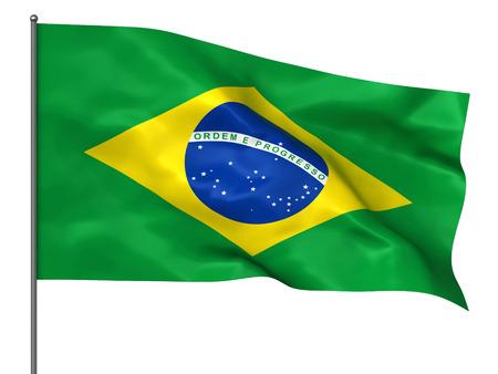 brazilian flag: Waving Brazilian flag isolated over white background Stock Photo