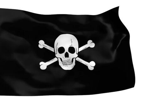 flap: Waving piratic flag isolated over white background Stock Photo