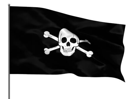 Waving piratic flag isolated over white background photo