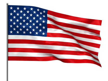 Waving American flag isolated over white background