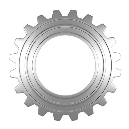 metalic background: 3d render of metalic gear over white background