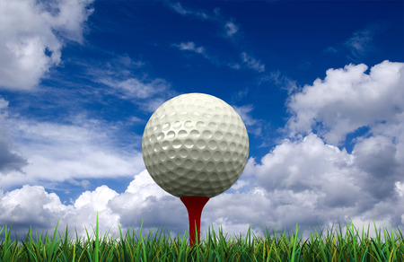tee: 3d render of golf ball and tee on sky background
