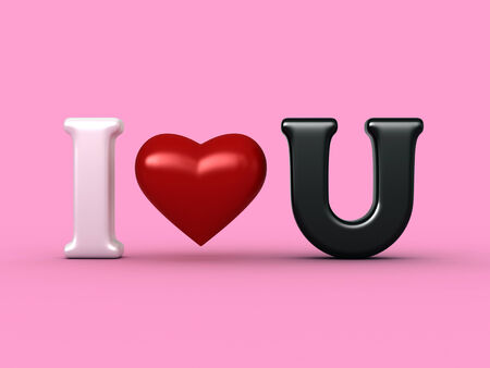 tender sentiment: 3d render of abstract caption i love you Stock Photo