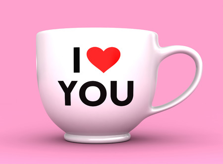 caption: 3d render of white cup with caption I Love You
