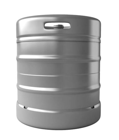 metal barrel: 3d render of beer keg isolated over white background Stock Photo