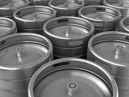3d render of group of beer kegs Standard-Bild