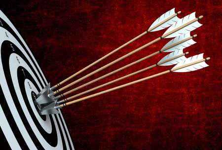 arco y flecha: 3d render of arrows hitting the center of target