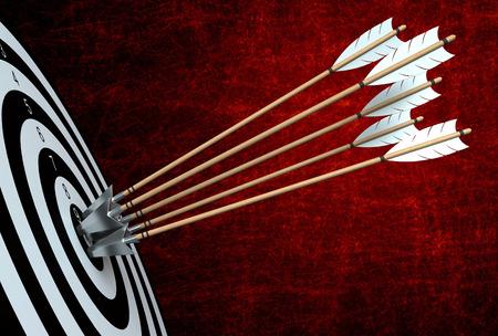 target arrow: 3d render of arrows hitting the center of target