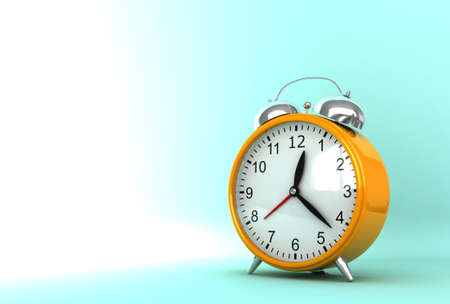 awaken: 3d render of ornge clock on cyan background