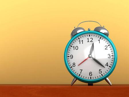 awaken: 3d render of cyan clock on yellow background