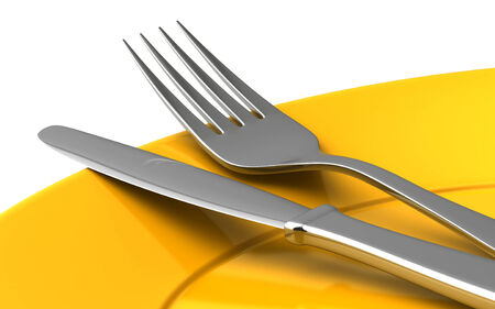 empty plate: 3d render of knife and fork in yellow plate isolated onwhite background Stock Photo