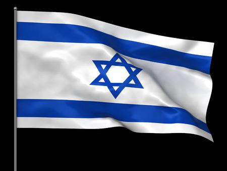 israeli flag: Waving Israeli flag isolated over black background