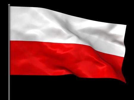 bandera de polonia: Ondeando la bandera polaca aislada sobre fondo negro Foto de archivo