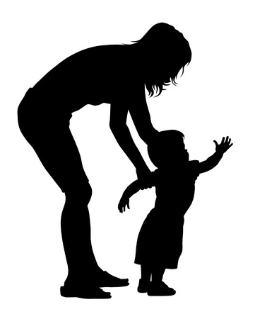 mother and baby: Vector illustration of little baby with his mother silhouettes