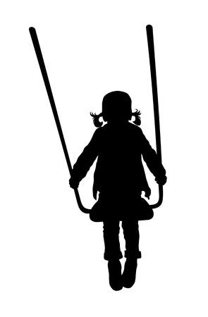 girl on swing: Vector illustration of swinging little kid silhouette