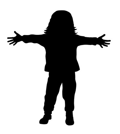 Vector illustration of little kid with outstretched arms