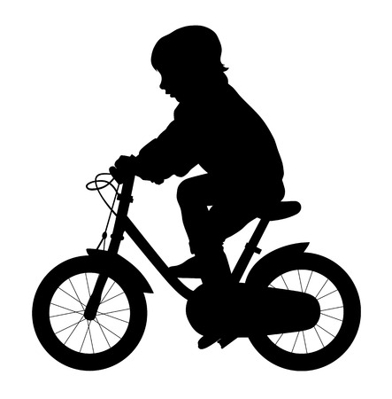 outstretched hand: Vector illustration of little kid ride a bike silhouette