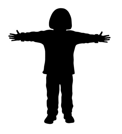 outstretched: Vector illustration of little kid with outstretched arms