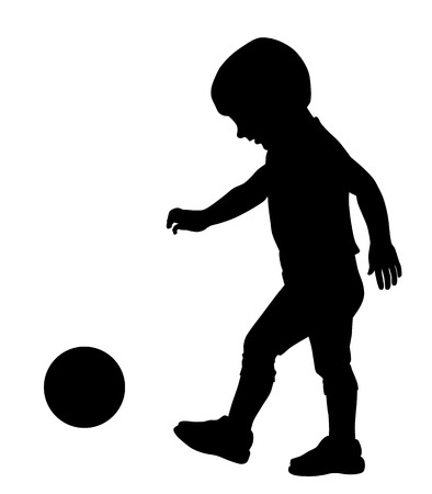 footbal: Vector illustration of little kid silhouette playing with ball