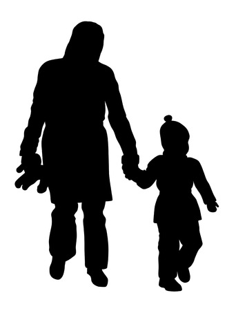 walking on hands: Vector illustration of mother and her child walking in the parks Illustration