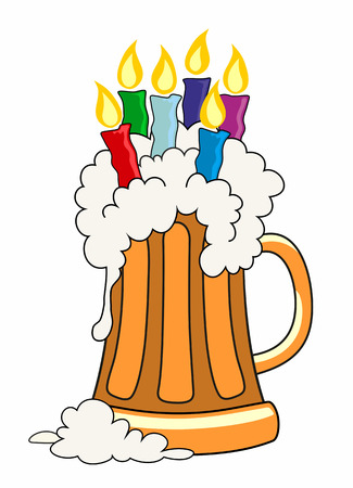 tankard: Vector illustration of pint of beer with candles