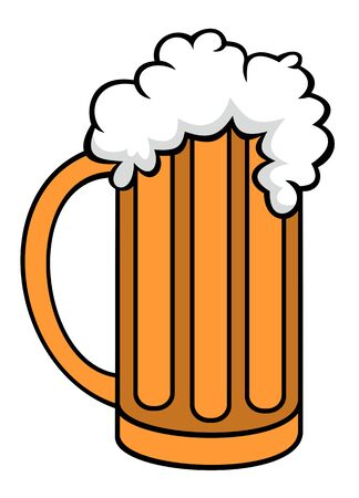 draught: Vector illustration on pint of beer cartoon style