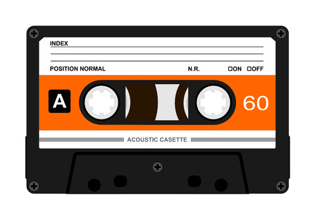 Vector illustration of accoustic casette on white background
