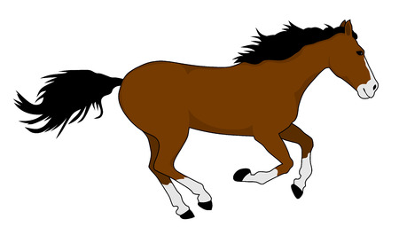 trot: vector illustration of running horse silhouette Illustration