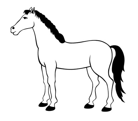 animals outline: vector illustration of standing horse silhouette