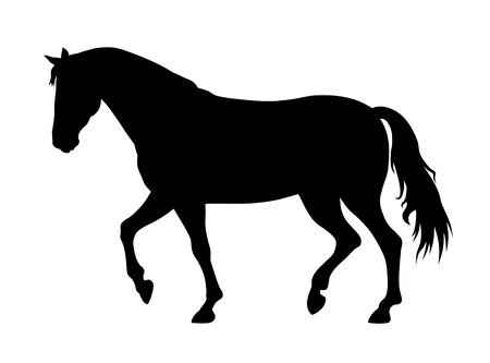 vector illustration of running horse silhouette Vettoriali