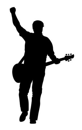 rock guitarist: Abstract vector illustration of rock guitarist silhouette