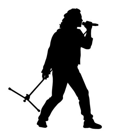 Abstract vector illustration of rock singer silhouette Vettoriali