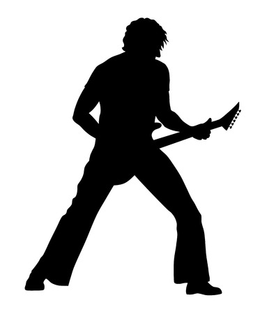 guitarist: Abstract vector illustration of rock guitarist silhouette
