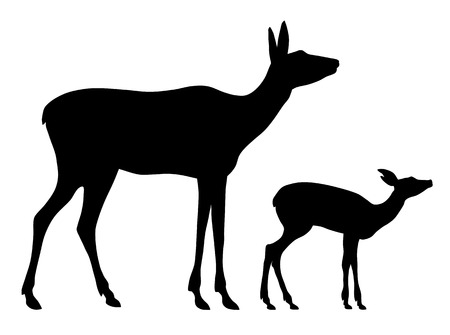 Vector illustration of doe and her baby silhouettes